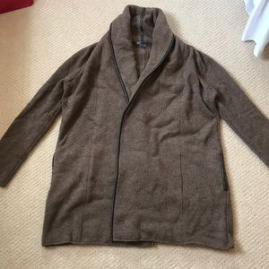 Vince Leather Trimmed Wool Cardigan - Size Small